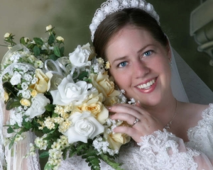 amy in wedding gown