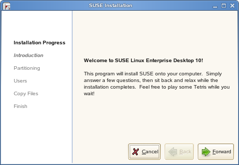 First page of live installer